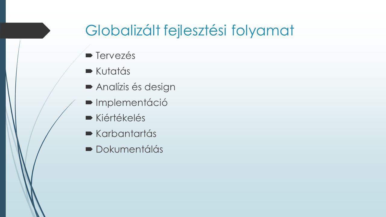 Globalizált fejlesztési folyamat  Tervezés  Kutatás  Analízis és design  Implementáció  Kiértékelés  Karbantartás  Dokumentálás