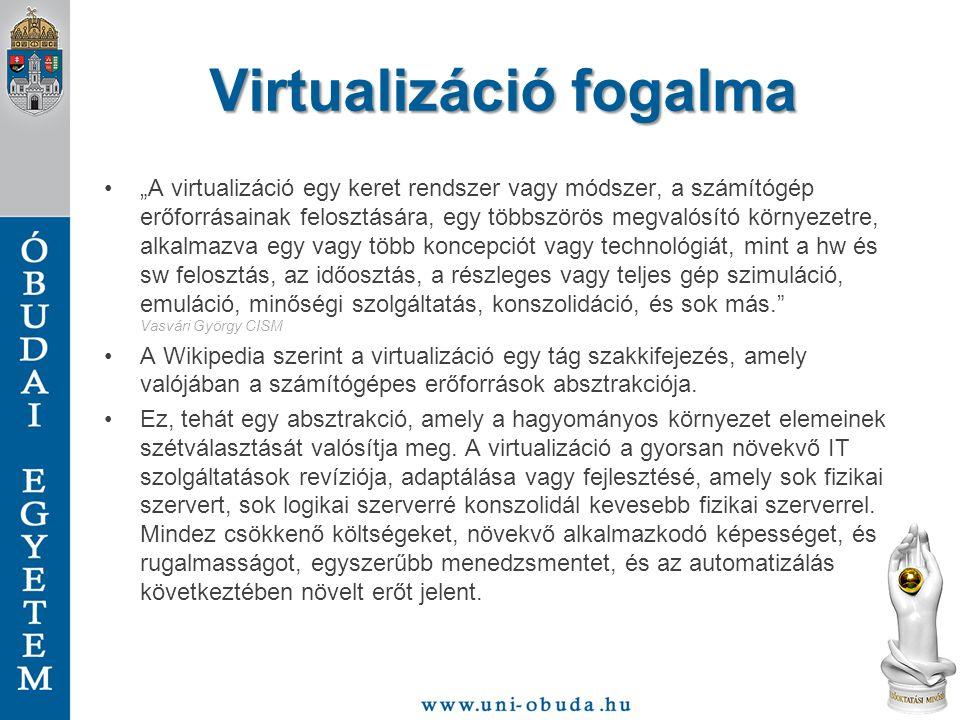 VMware Workstation VMware Workstation 8 bemutatása felhasználói szinten –Fülek és nézetek, mi hol található –Snapshot –VMware Tools –Hálózat (Virtual Network Editor)