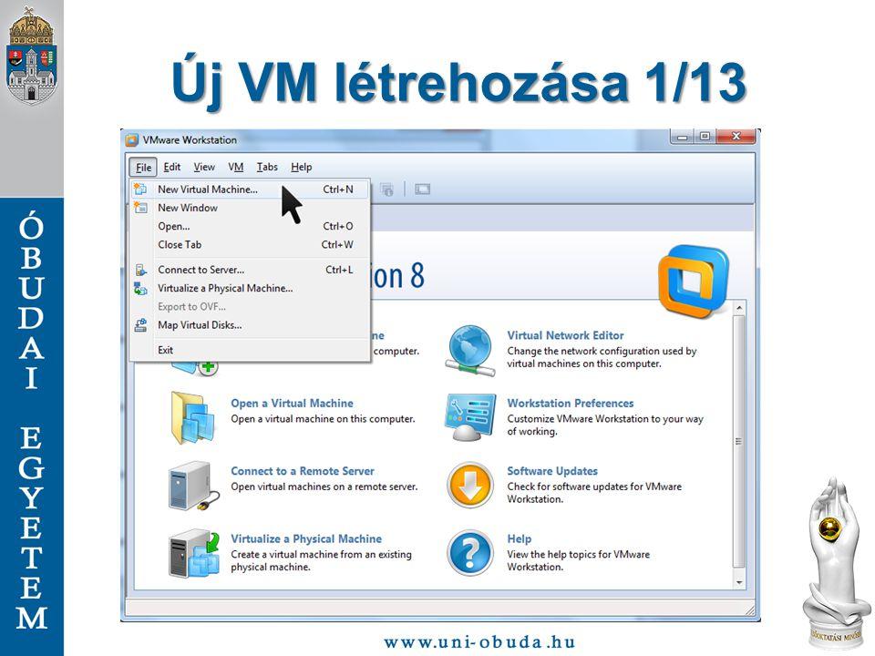"""Új VM létrehozása 12/13 A virtuális gép ezzel elkészült, most kell """"behelyezni a telepítő lemezt, vagyis a beállításoknál válasszuk ki a CD/DVD-t, és adjuk meg a telepítő lemez képet."""