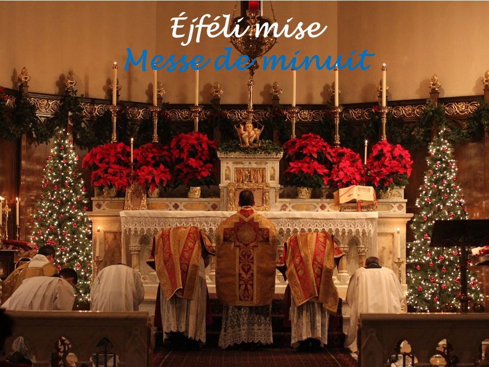 """A szeretet ünnepe La fête de l'amour """"La neige au chaume coud ses franges, Mais sur le toit s ouvre le ciel Et, tout en blanc, le choeur des anges Chante aux bergers : Noël ."""
