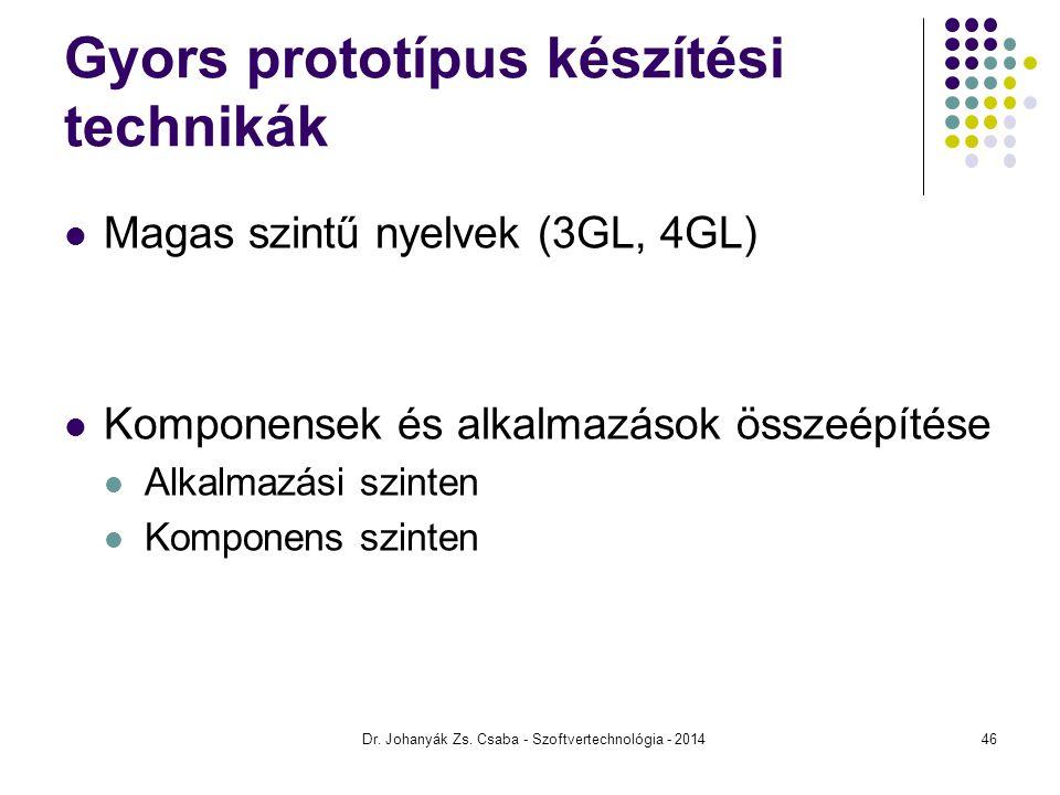 Gyors prototípus készítési technikák Magas szintű nyelvek (3GL, 4GL) Komponensek és alkalmazások összeépítése Alkalmazási szinten Komponens szinten Dr