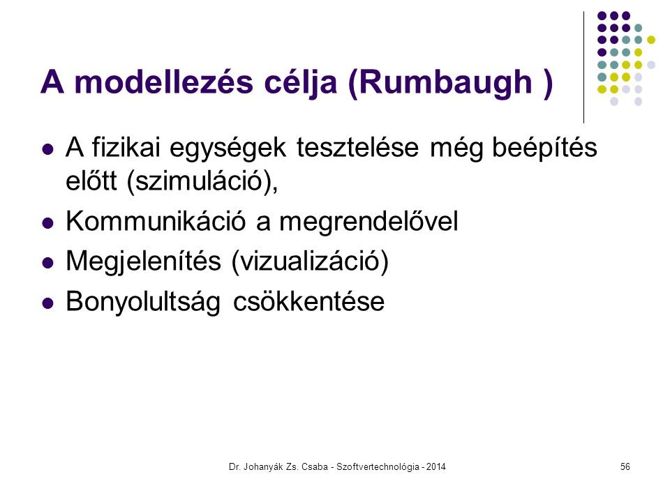 A modellezés célja (Rumbaugh ) A fizikai egységek tesztelése még beépítés előtt (szimuláció), Kommunikáció a megrendelővel Megjelenítés (vizualizáció)