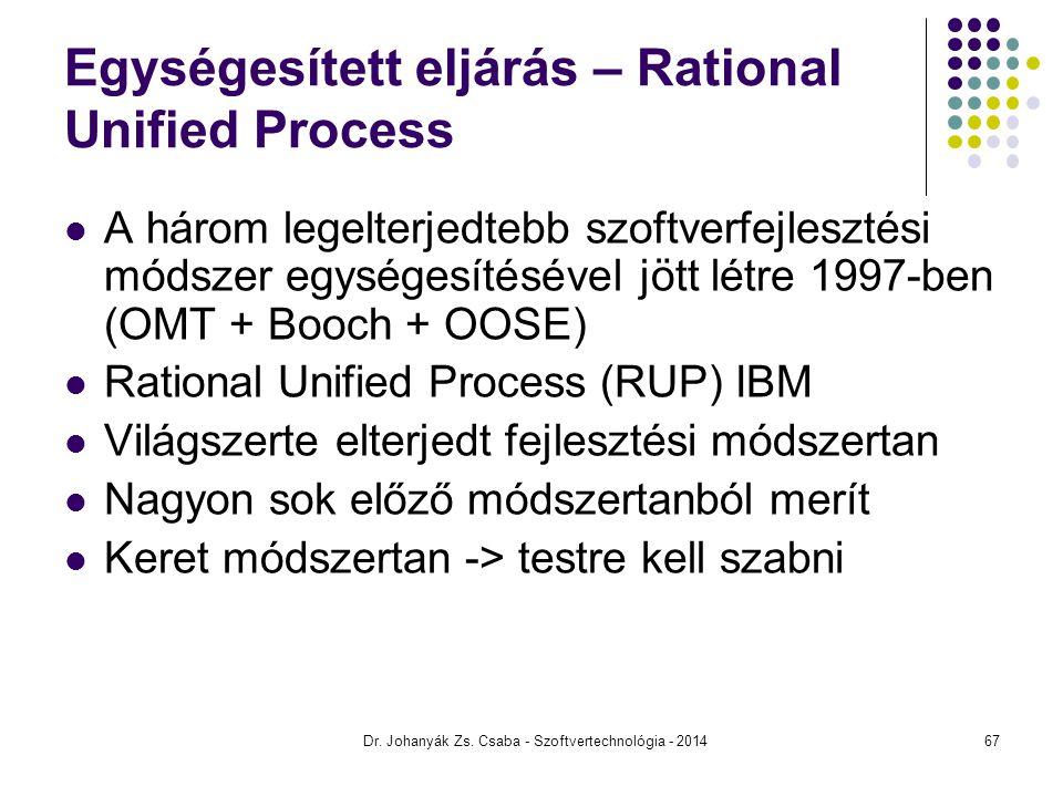 Dr. Johanyák Zs. Csaba - Szoftvertechnológia - 2014 Egységesített eljárás – Rational Unified Process A három legelterjedtebb szoftverfejlesztési módsz