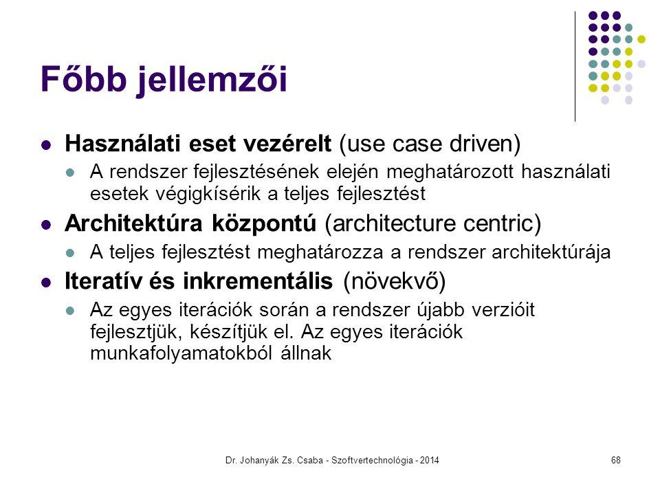 Dr. Johanyák Zs. Csaba - Szoftvertechnológia - 2014 Használati eset vezérelt (use case driven) A rendszer fejlesztésének elején meghatározott használa