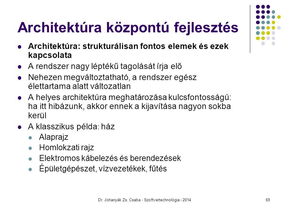 Dr. Johanyák Zs. Csaba - Szoftvertechnológia - 2014 Architektúra központú fejlesztés Architektúra: strukturálisan fontos elemek és ezek kapcsolata A r
