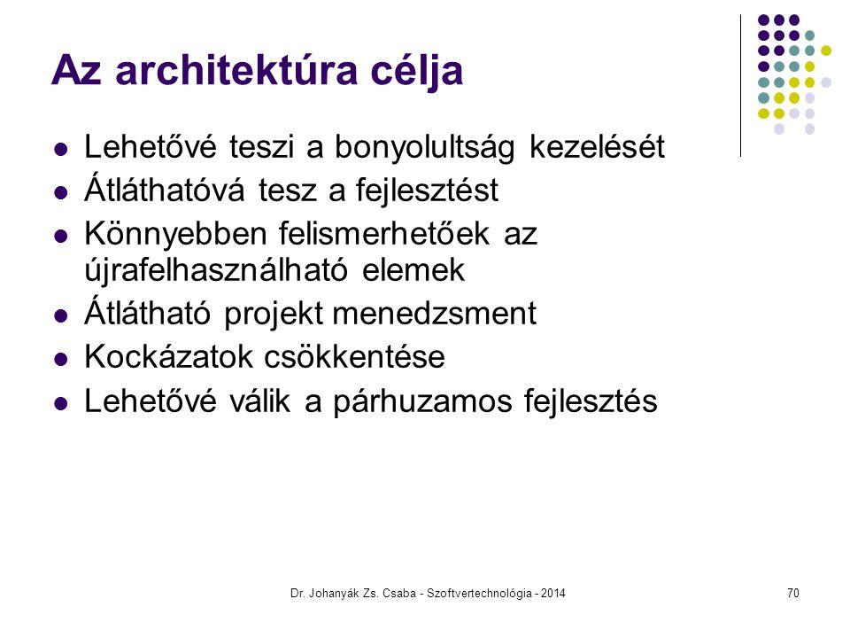 Dr. Johanyák Zs. Csaba - Szoftvertechnológia - 2014 Az architektúra célja Lehetővé teszi a bonyolultság kezelését Átláthatóvá tesz a fejlesztést Könny