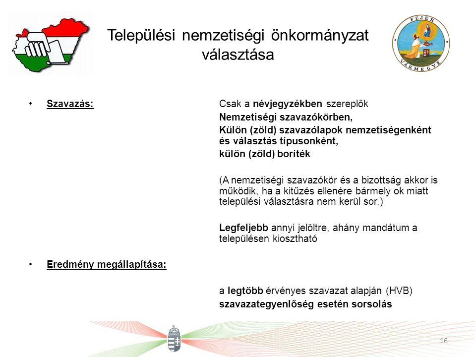 Települési nemzetiségi önkormányzat választása Szavazás:Csak a névjegyzékben szereplők Nemzetiségi szavazókörben, Külön (zöld) szavazólapok nemzetiség