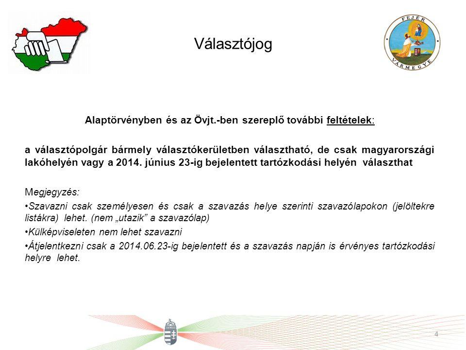 Választójog Alaptörvényben és az Övjt.-ben szereplő további feltételek: a választópolgár bármely választókerületben választható, de csak magyarországi lakóhelyén vagy a 2014.