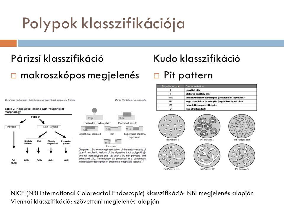 Polypok klasszifikációja Párizsi klasszifikáció  makroszkópos megjelenés Kudo klasszifikáció  Pit pattern NICE (NBI International Coloreactal Endosc