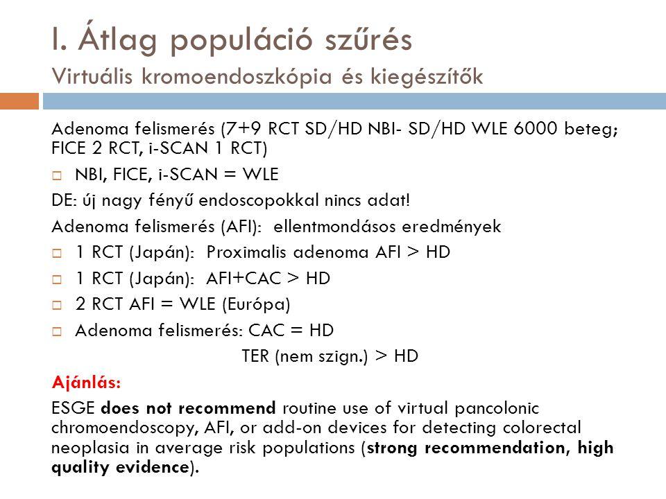 I. Átlag populáció szűrés Virtuális kromoendoszkópia és kiegészítők Adenoma felismerés (7+9 RCT SD/HD NBI- SD/HD WLE 6000 beteg; FICE 2 RCT, i-SCAN 1