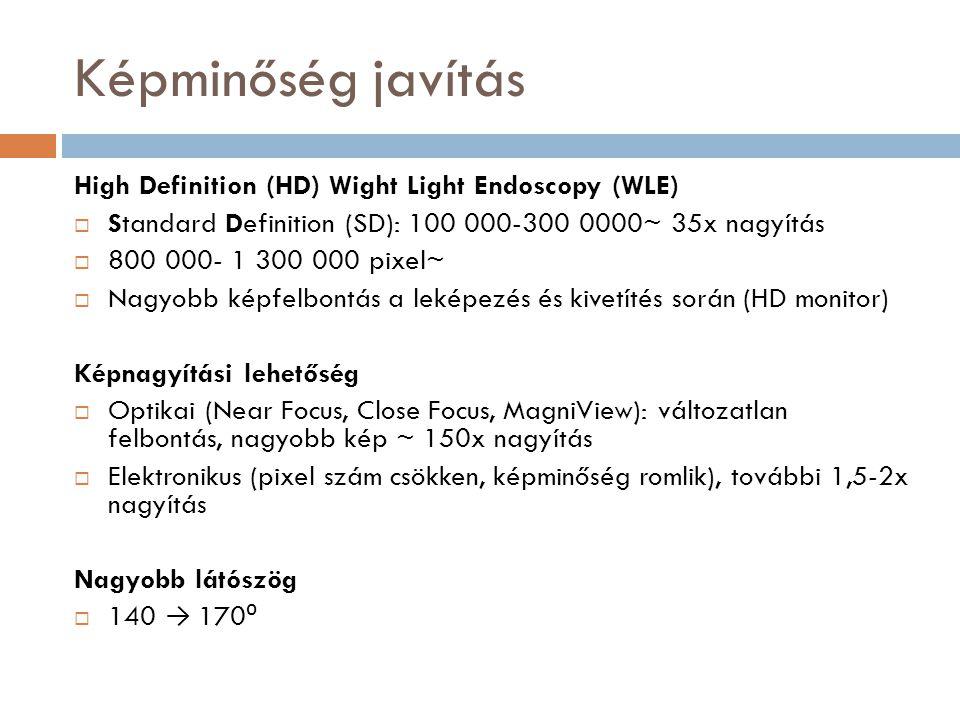 Képminőség javítás High Definition (HD) Wight Light Endoscopy (WLE)  Standard Definition (SD): 100 000-300 0000~ 35x nagyítás  800 000- 1 300 000 pi