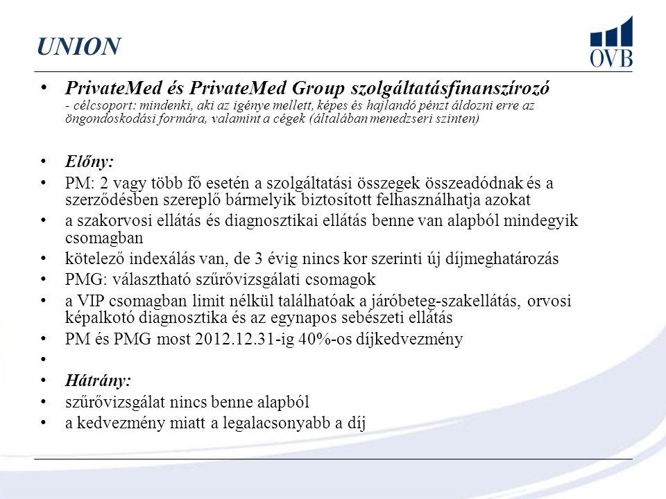 UNION PrivateMed és PrivateMed Group szolgáltatásfinanszírozó - célcsoport: mindenki, aki az igénye mellett, képes és hajlandó pénzt áldozni erre az ö
