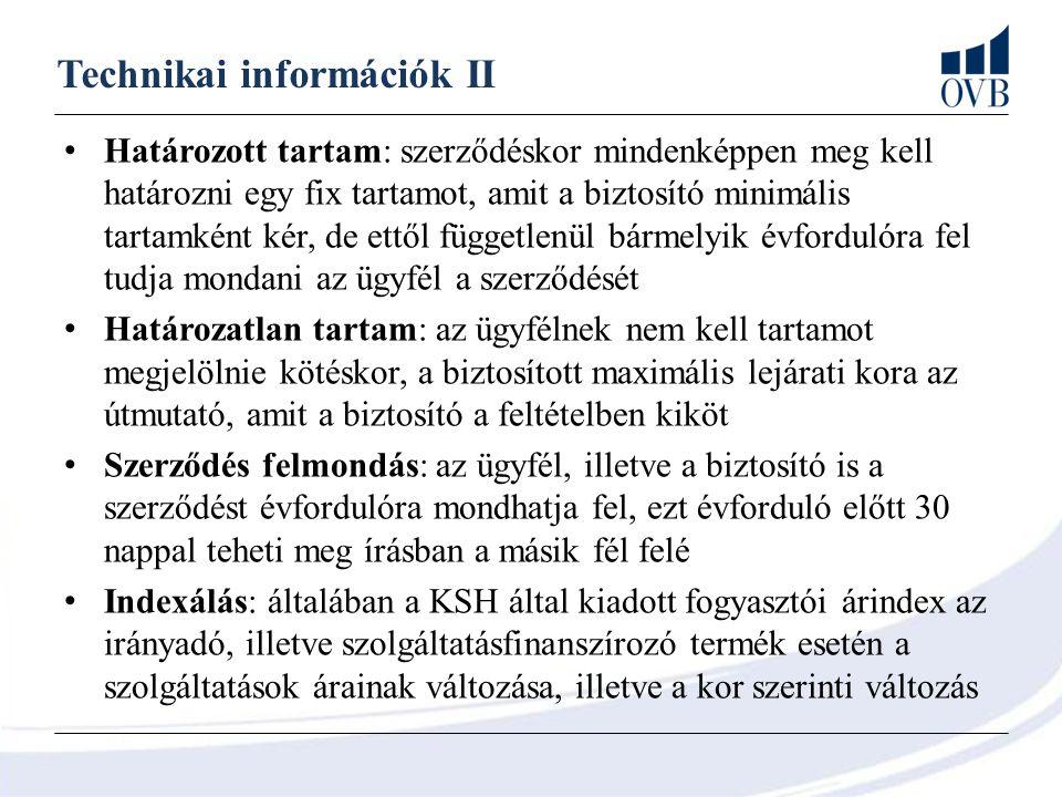 Technikai információk II Határozott tartam: szerződéskor mindenképpen meg kell határozni egy fix tartamot, amit a biztosító minimális tartamként kér,