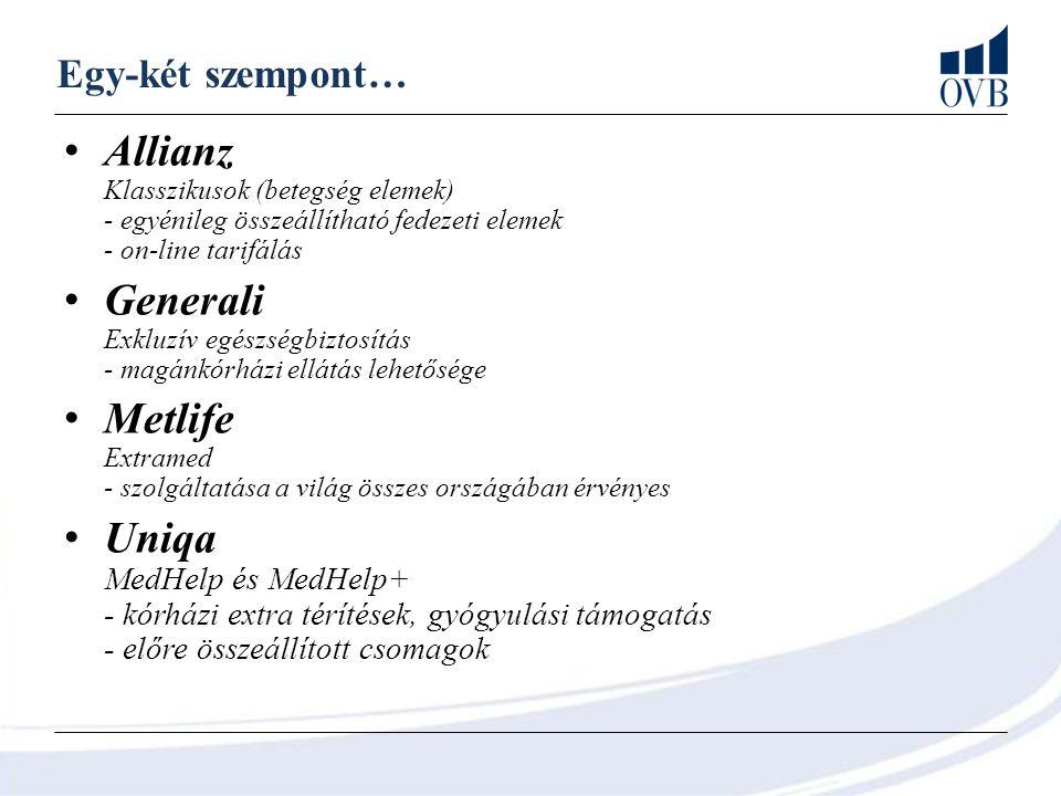 Egy-két szempont… Allianz Klasszikusok (betegség elemek) - egyénileg összeállítható fedezeti elemek - on-line tarifálás Generali Exkluzív egészségbizt