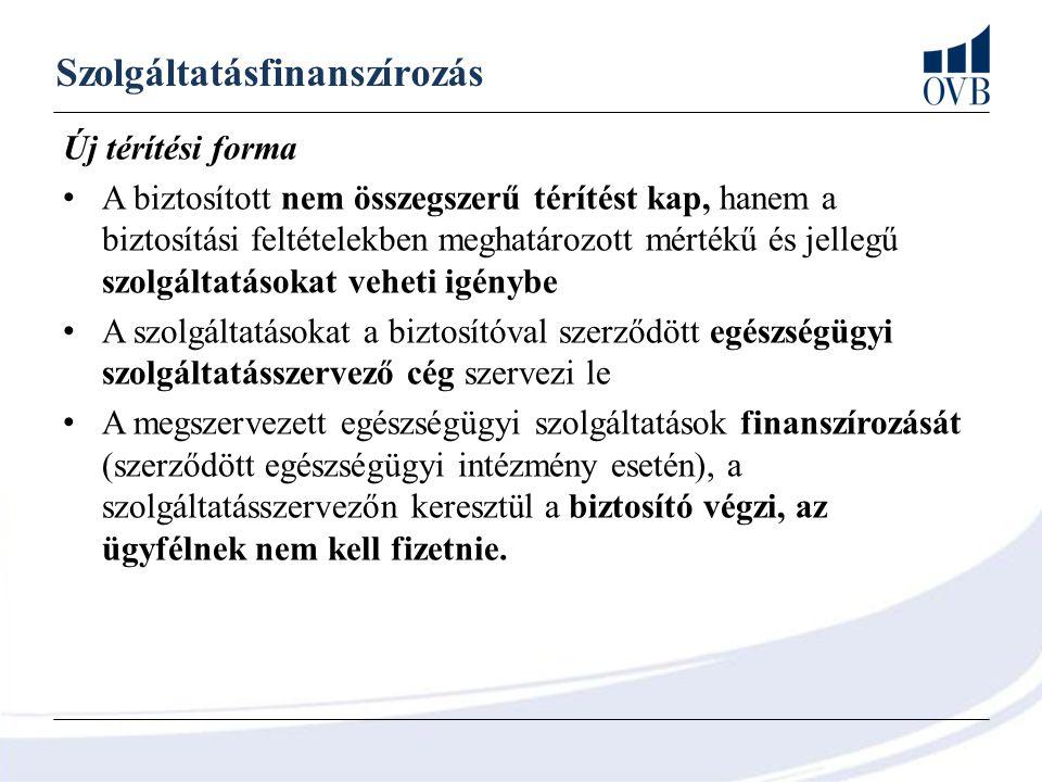 Szolgáltatásfinanszírozás Új térítési forma A biztosított nem összegszerű térítést kap, hanem a biztosítási feltételekben meghatározott mértékű és jel
