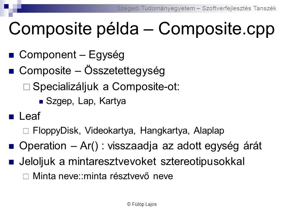 Szegedi Tudományegyetem – Szoftverfejlesztés Tanszék Composite példa – Composite.cpp Component – Egység Composite – Összetettegység  Specializáljuk a Composite-ot: Szgep, Lap, Kartya Leaf  FloppyDisk, Videokartya, Hangkartya, Alaplap Operation – Ar() : visszaadja az adott egység árát Jeloljuk a mintaresztvevoket sztereotipusokkal  Minta neve::minta résztvevő neve © Fülöp Lajos