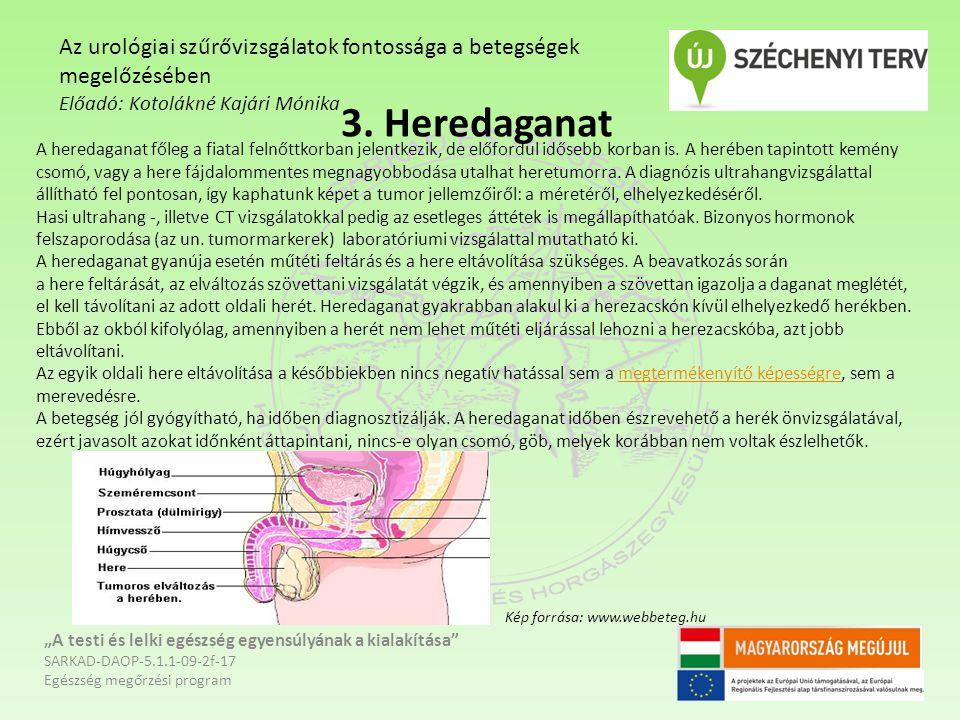 """3. Heredaganat """"A testi és lelki egészség egyensúlyának a kialakítása"""" SARKAD-DAOP-5.1.1-09-2f-17 Egészség megőrzési program Az urológiai szűrővizsgál"""
