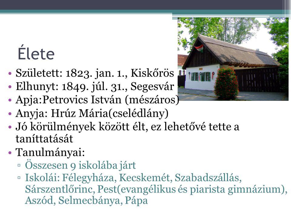 Élete Született: 1823. jan. 1., Kiskőrös Elhunyt: 1849. júl. 31., Segesvár Apja:Petrovics István (mészáros) Anyja: Hrúz Mária(cselédlány) Jó körülmény