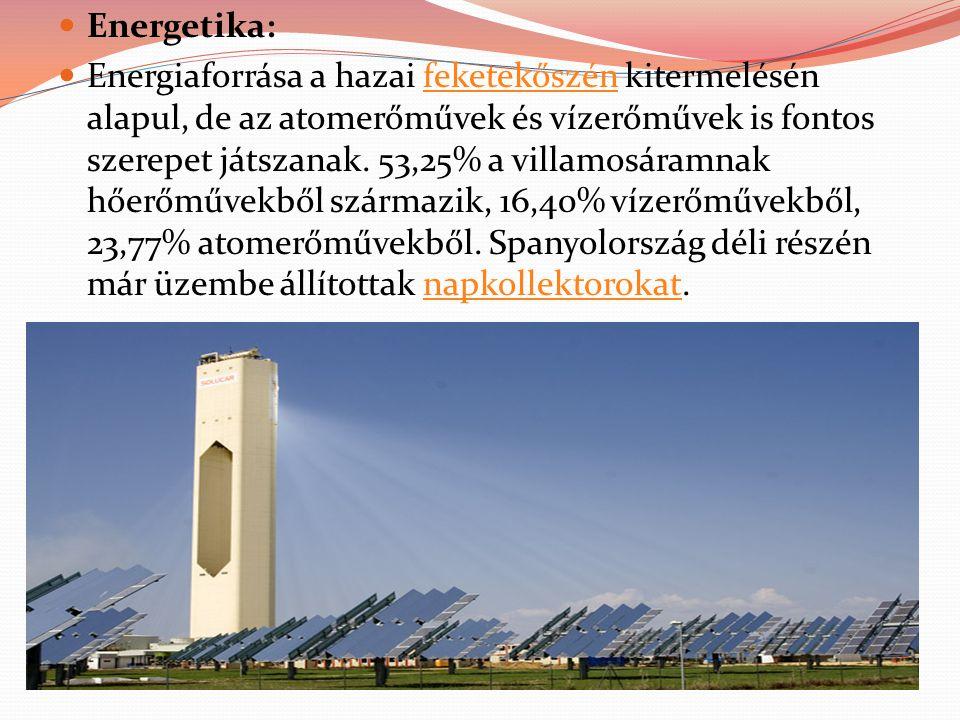 Energetika: Energiaforrása a hazai feketekőszén kitermelésén alapul, de az atomerőművek és vízerőművek is fontos szerepet játszanak. 53,25% a villamos