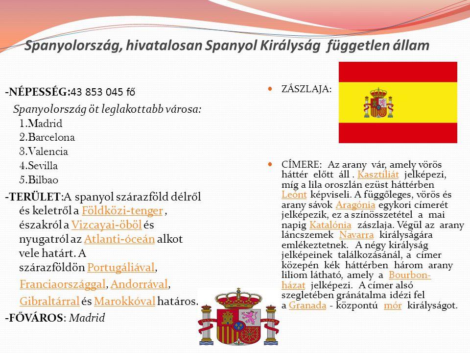 Spanyolország, hivatalosan Spanyol Királyság független állam -NÉPESSÉG:43 853 045 fő Spanyolország öt leglakottabb városa: 1.Madrid 2.Barcelona 3.Vale