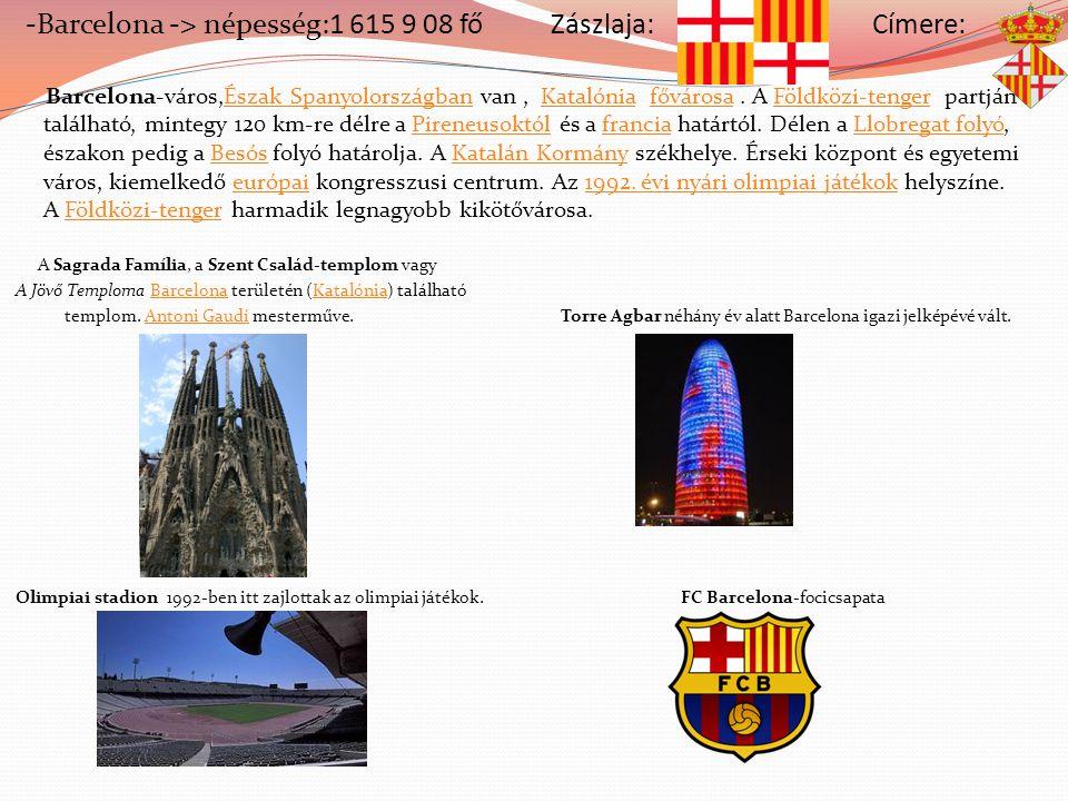 -Barcelona -> népesség:1 615 9 08 fő Zászlaja: Címere: Barcelona-város,Észak Spanyolországban van, Katalónia fővárosa. A Földközi-tenger partján talál