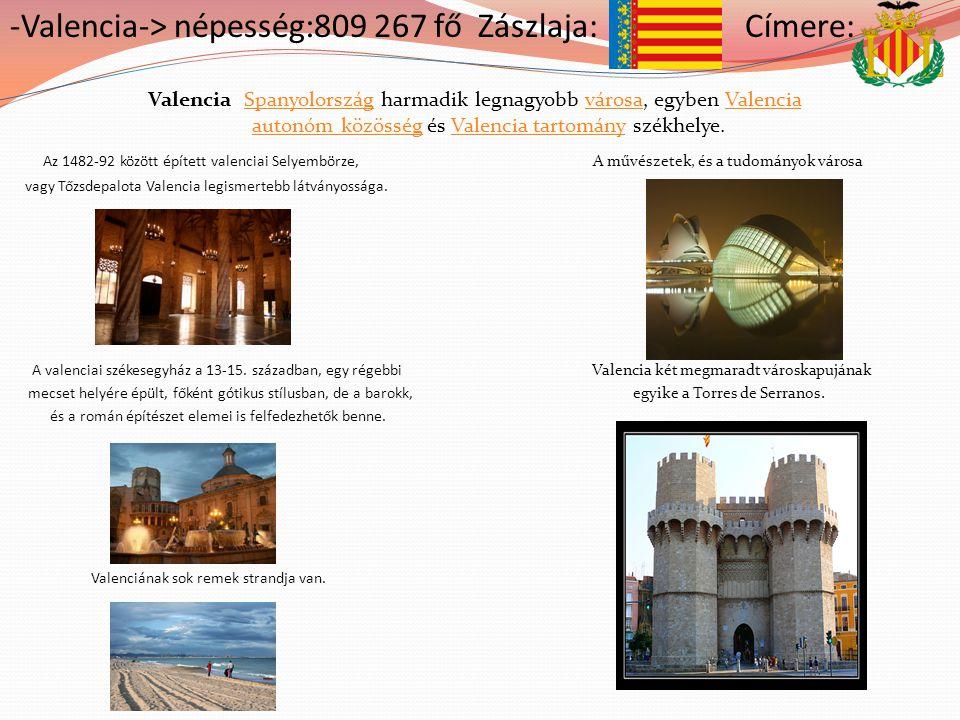 -Valencia-> népesség:809 267 fő Zászlaja: Címere: Valencia Spanyolország harmadik legnagyobb városa, egyben Valencia autonóm közösség és Valencia tart
