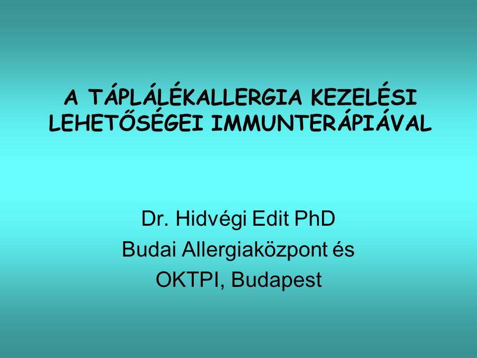 Sublingualis immunterápia (SLIT) Tej, őszibarack, mogyoró 2-3 percig a szájban tart, majd kiköp/lenyel (OIT?) Kezelés hónapokig Nagyobb dózisokat tolerál Spec.