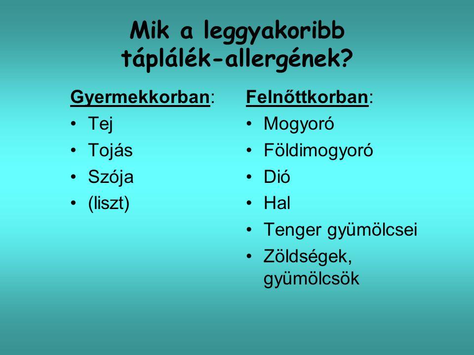 Anti-IgE kezelés (nem specifikus) 84 mogyoró-allergiás felnőtt anti-IgE kezelés 4 hónapig, havi 1 inj.