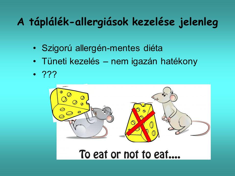 Új kezelési lehetőségek étel-allergiában Specifikus –Allergén fehérje hőkezelése –Immunterápia (deszenzibilizáló kezelés)  Subcutan  Oralis  Sublingualis  Epicutan –Rekombináns fehérjék alkalmazása Nem specifikus –Anti-IgE kezelés –Trichuris fertőzés –Anti-IL 5 adása (Eo oesophagitisben) –11 kínai gyógynövény keveréke Nowak-Wegrzyn A, Sampson HA: Future therapies for food allergies, J Allergy Clin Immunol 2011