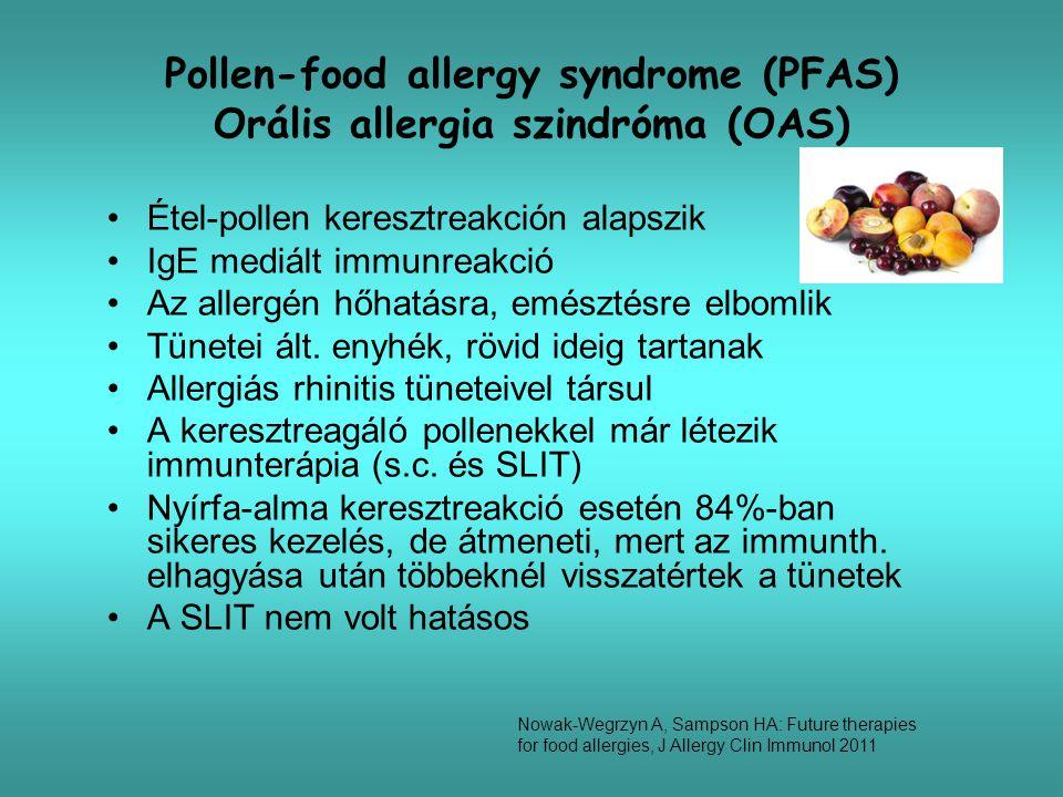 Immunterápia (s.c., epicutan) Subcutan mogyoróval 6 főt kezeltek Ugyan csökkent a bőrpróba urtika átmérője, de 39%-ban SAE Anafilaxia miatt 12,6 inj./fő epinefrin Epicutan tejjel 9 gyerek + 9 kontroll 3,8 év (0,9-7,7 év) 1 patch = 1 g tejpor 3x48 óra/hét, 3 hónap Kezeltben tolerancia nő 1,8 ml 23,6 ml tej Mellékhatás: viszketés, ekzema, hasmenés (1) Nowak-Wegrzyn A, Sampson HA: Future therapies for food allergies, J Allergy Clin Immunol 2011