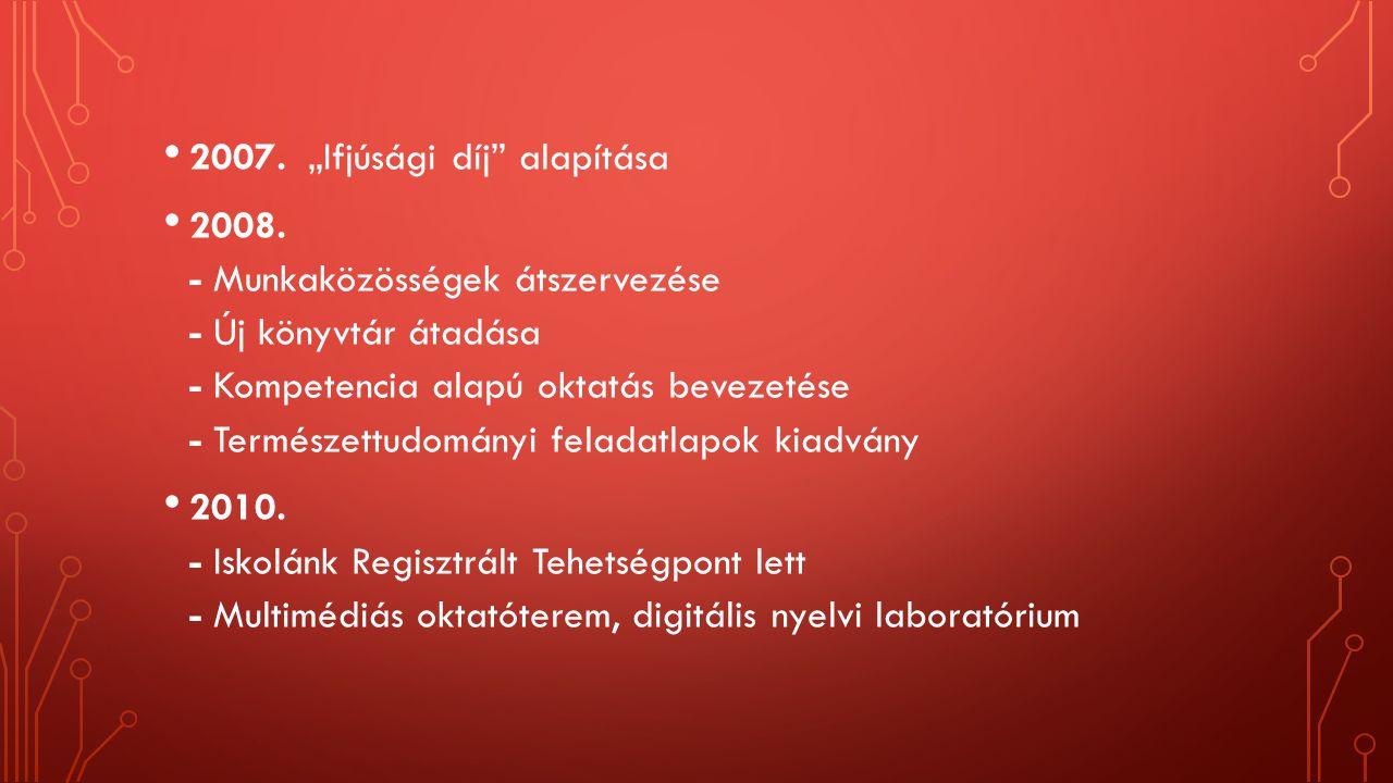 """2007. """"Ifjúsági díj"""" alapítása 2008. - Munkaközösségek átszervezése - Új könyvtár átadása - Kompetencia alapú oktatás bevezetése - Természettudományi"""