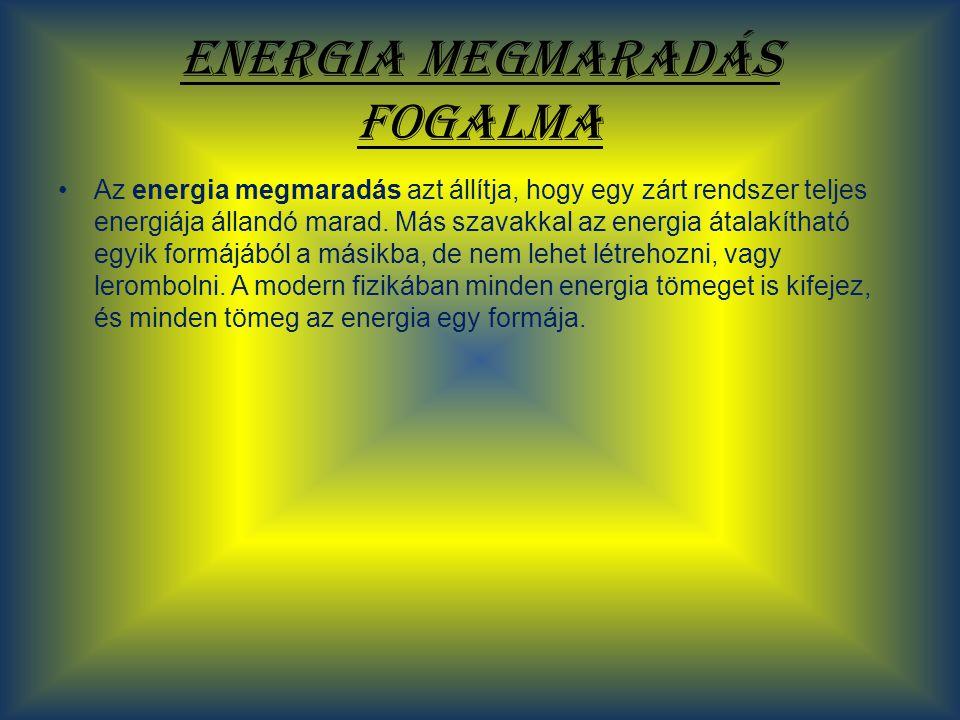 Energia megmaradás fogalma Az energia megmaradás azt állítja, hogy egy zárt rendszer teljes energiája állandó marad. Más szavakkal az energia átalakít