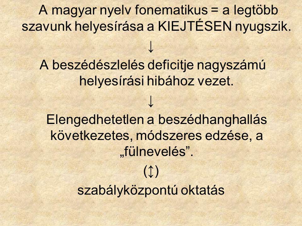 A magyar nyelv fonematikus = a legtöbb szavunk helyesírása a KIEJTÉSEN nyugszik. ↓ A beszédészlelés deficitje nagyszámú helyesírási hibához vezet. ↓ E