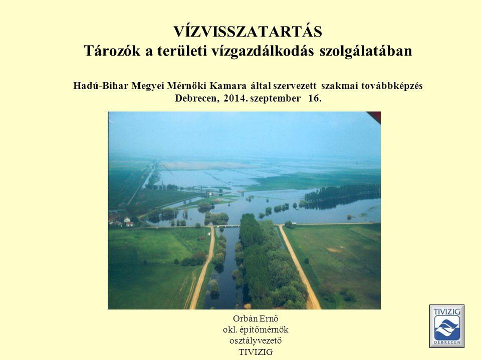 VÍZVISSZATARTÁS Tározók a területi vízgazdálkodás szolgálatában Hadú-Bihar Megyei Mérnöki Kamara által szervezett szakmai továbbképzés Debrecen, 2014.