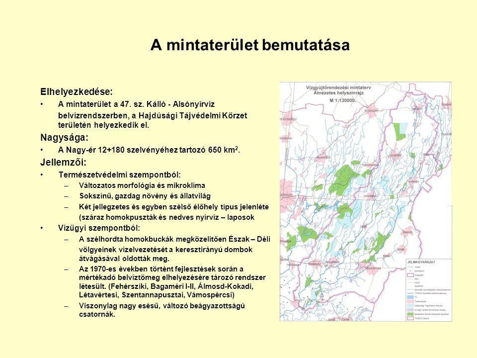 A mintaterület bemutatása Elhelyezkedése: A mintaterület a 47. sz. Kálló - Alsónyírvíz belvízrendszerben, a Hajdúsági Tájvédelmi Körzet területén hely