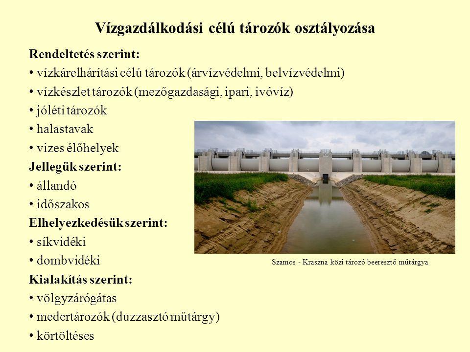 Vízgazdálkodási célú tározók osztályozása Rendeltetés szerint: vízkárelhárítási célú tározók (árvízvédelmi, belvízvédelmi) vízkészlet tározók (mezőgaz
