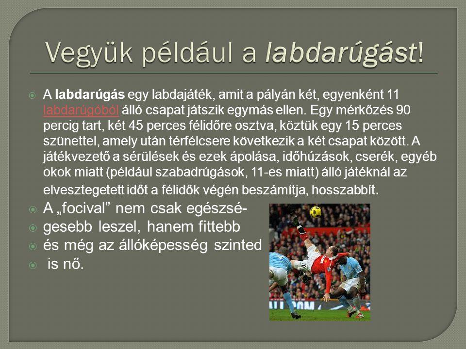  A labdarúgás egy labdajáték, amit a pályán két, egyenként 11 labdarúgóból álló csapat játszik egymás ellen.