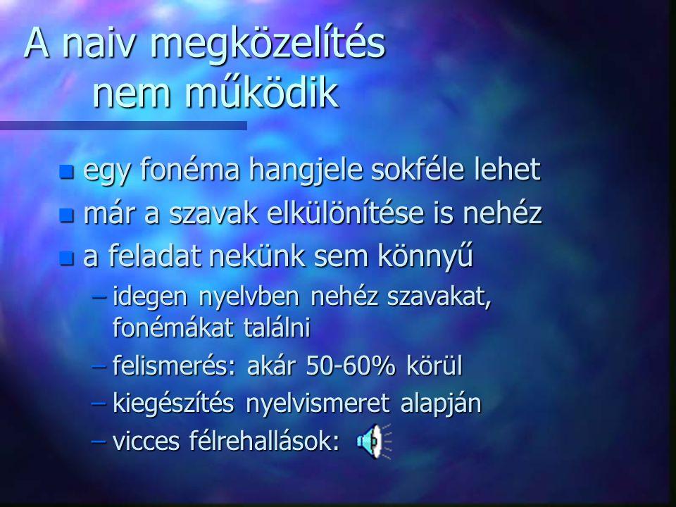 """Beszédfelismerés n Feladat: """"Please write:... [pli:z rait] összehasonlítás [a],[a:],...,[p],..."""
