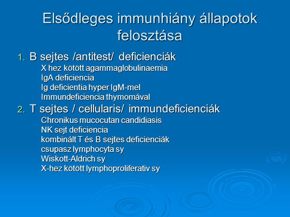 Elsődleges immunhiány állapotok felosztása 1. B sejtes /antitest/ deficienciák X hez kötött agammaglobulinaemia X hez kötött agammaglobulinaemia IgA d