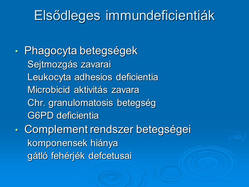 Elsődleges immundeficientiák Phagocyta betegségek Phagocyta betegségek Sejtmozgás zavarai Leukocyta adhesios deficientia Microbicid aktivitás zavara C