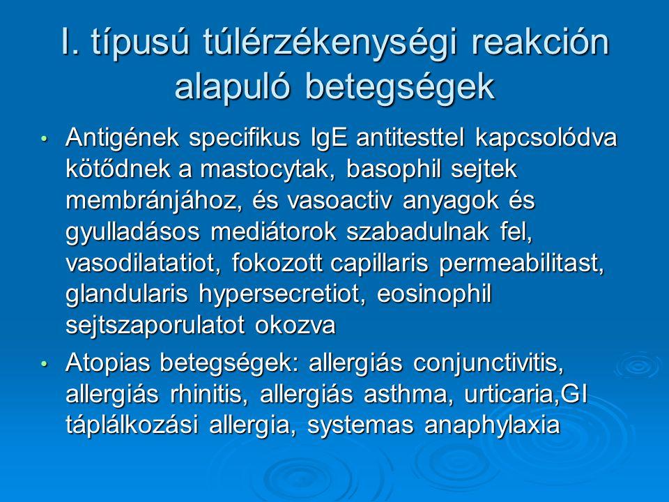 I. típusú túlérzékenységi reakción alapuló betegségek Antigének specifikus IgE antitesttel kapcsolódva kötődnek a mastocytak, basophil sejtek membránj