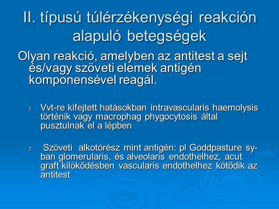 II. típusú túlérzékenységi reakción alapuló betegségek Olyan reakció, amelyben az antitest a sejt és/vagy szöveti elemek antigén komponensével reagál.