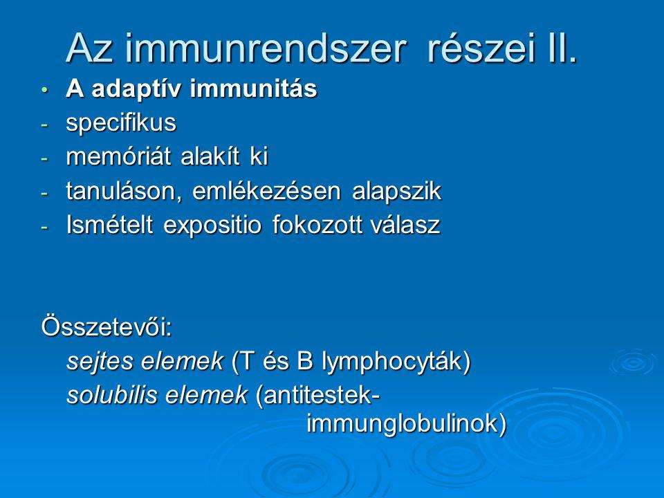 A adaptív immunitás A adaptív immunitás - specifikus - memóriát alakít ki - tanuláson, emlékezésen alapszik - Ismételt expositio fokozott válasz Össze