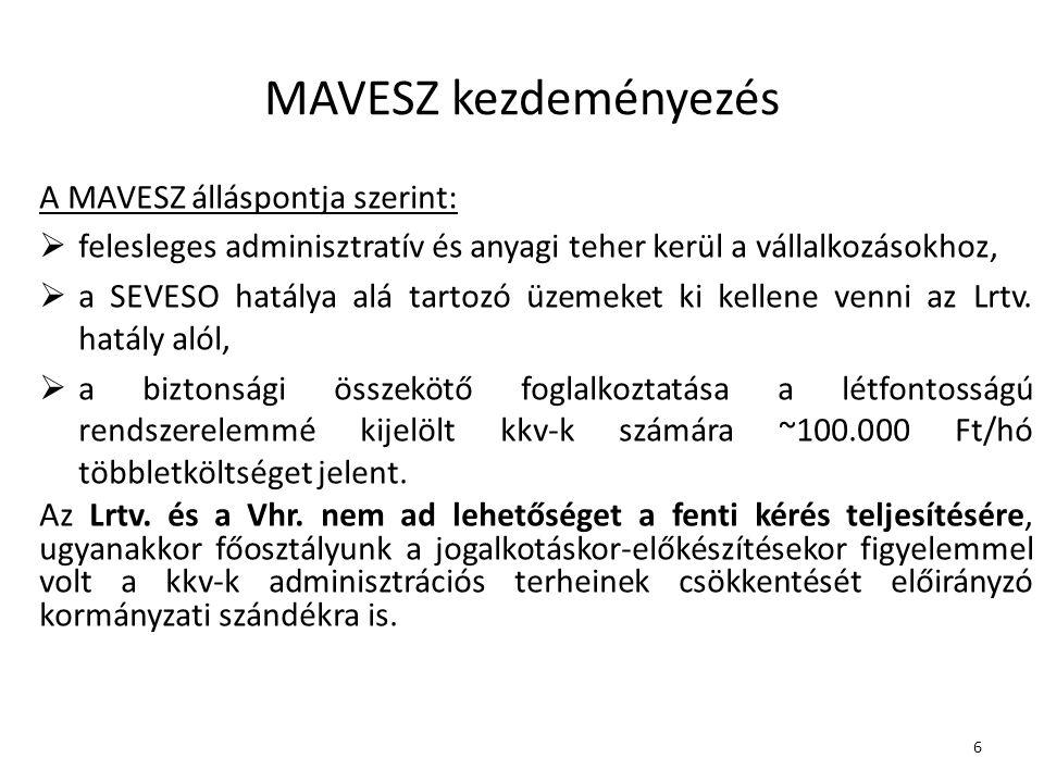 6 MAVESZ kezdeményezés A MAVESZ álláspontja szerint:  felesleges adminisztratív és anyagi teher kerül a vállalkozásokhoz,  a SEVESO hatálya alá tartozó üzemeket ki kellene venni az Lrtv.