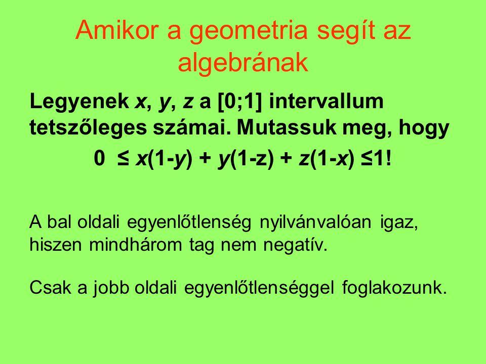 Amikor a geometria segít az algebrának Legyenek x, y, z a [0;1] intervallum tetszőleges számai. Mutassuk meg, hogy 0 ≤ x(1-y) + y(1-z) + z(1-x) ≤1! A