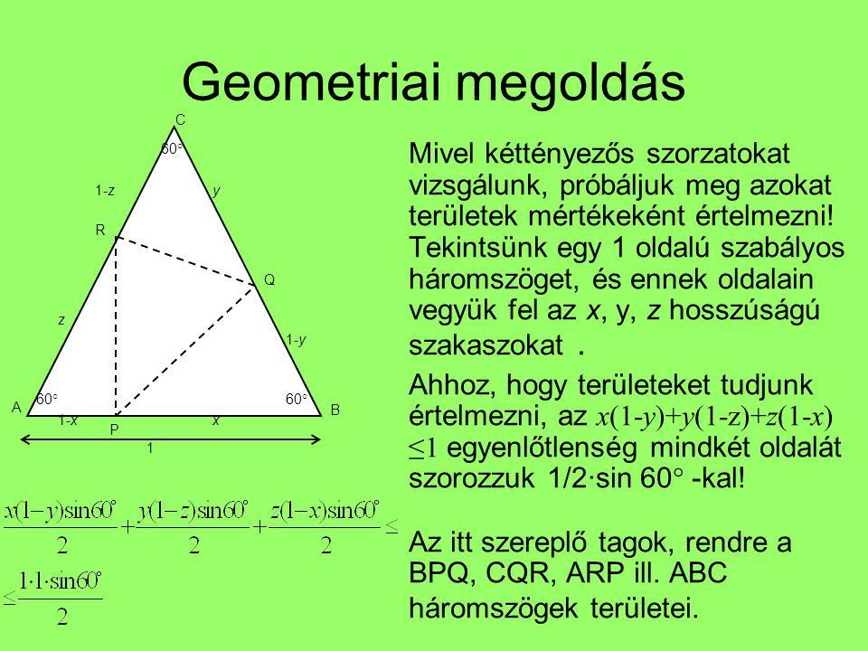 Geometriai megoldás Mivel kéttényezős szorzatokat vizsgálunk, próbáljuk meg azokat területek mértékeként értelmezni! Tekintsünk egy 1 oldalú szabályos