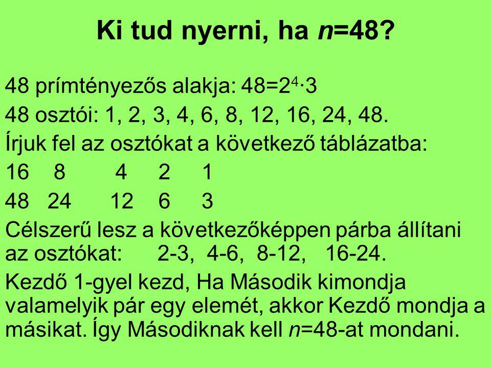 Ki tud nyerni, ha n=48? 48 prímtényezős alakja: 48=2 4 ·3 48 osztói: 1, 2, 3, 4, 6, 8, 12, 16, 24, 48. Írjuk fel az osztókat a következő táblázatba: 1