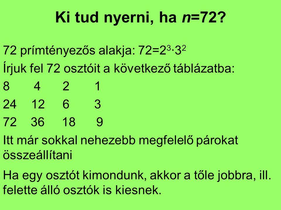 Ki tud nyerni, ha n=72.