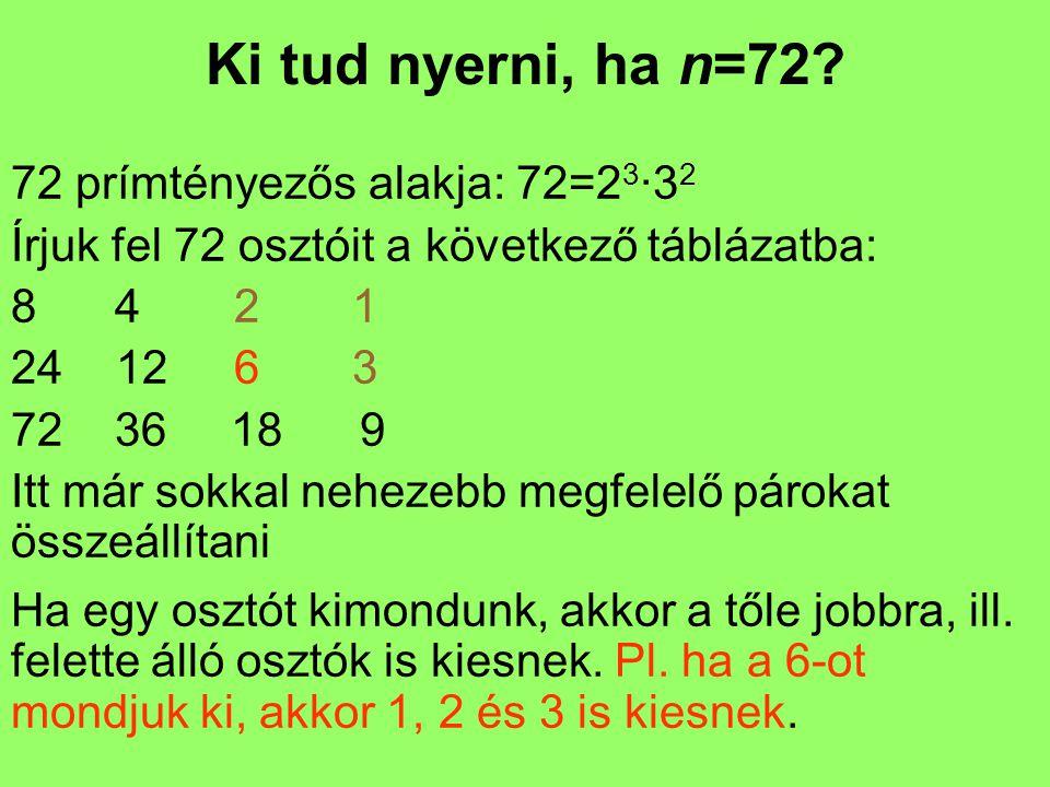 Ki tud nyerni, ha n=72? 72 prímtényezős alakja: 72=2 3 ·3 2 Írjuk fel 72 osztóit a következő táblázatba: 8 4 2 1 2412 6 3 72 36 18 9 Itt már sokkal ne