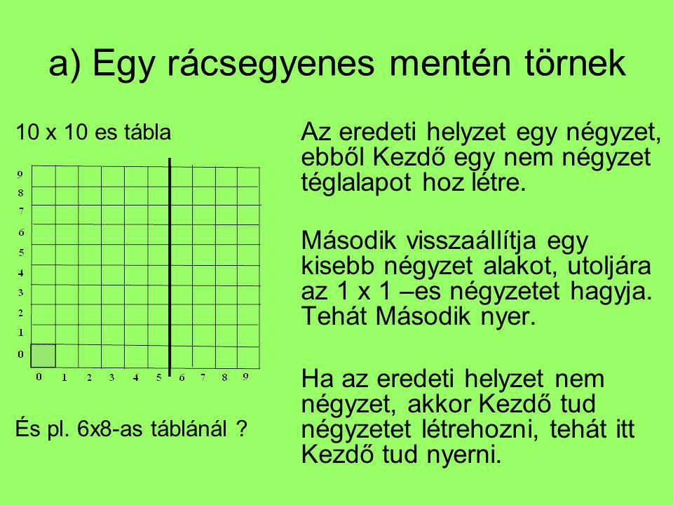 a) Egy rácsegyenes mentén törnek 10 x 10 es tábla És pl. 6x8-as táblánál ? Az eredeti helyzet egy négyzet, ebből Kezdő egy nem négyzet téglalapot hoz